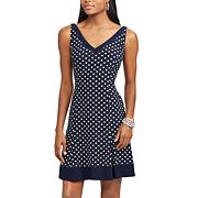Petite Chaps Polka-Dot Fit & Flare Dress