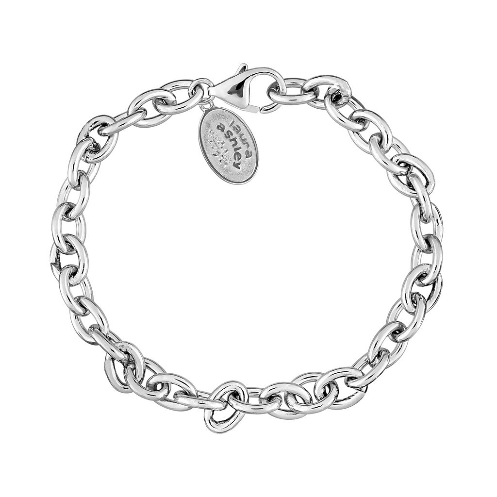 Laura Ashley Sterling Silver Oval Link Chain Bracelet