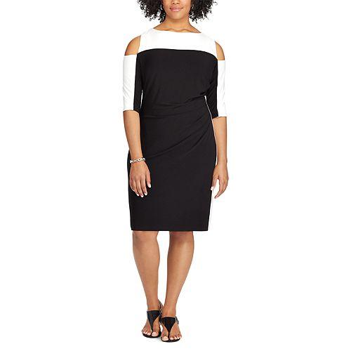 Plus Size Chaps Colorblock Cold-Shoulder Sheath Dress