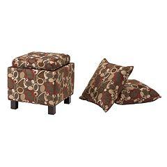 Madison Park Shelley Geometric Square Storage Ottoman & Throw Pillow 3 pc Set