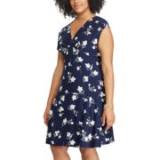 Plus Size Chaps Floral Surplice Empire Dress
