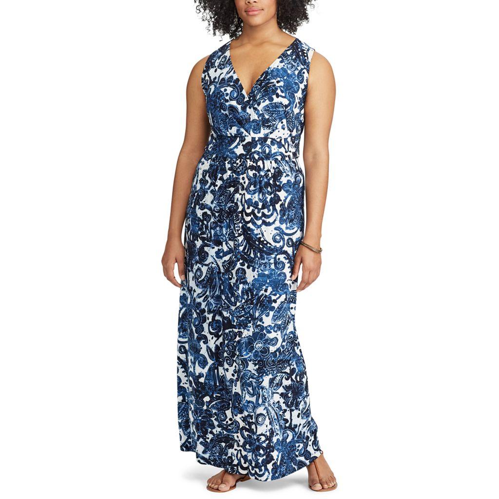 Plus Size Chaps Paisley Surplice Maxi Dress