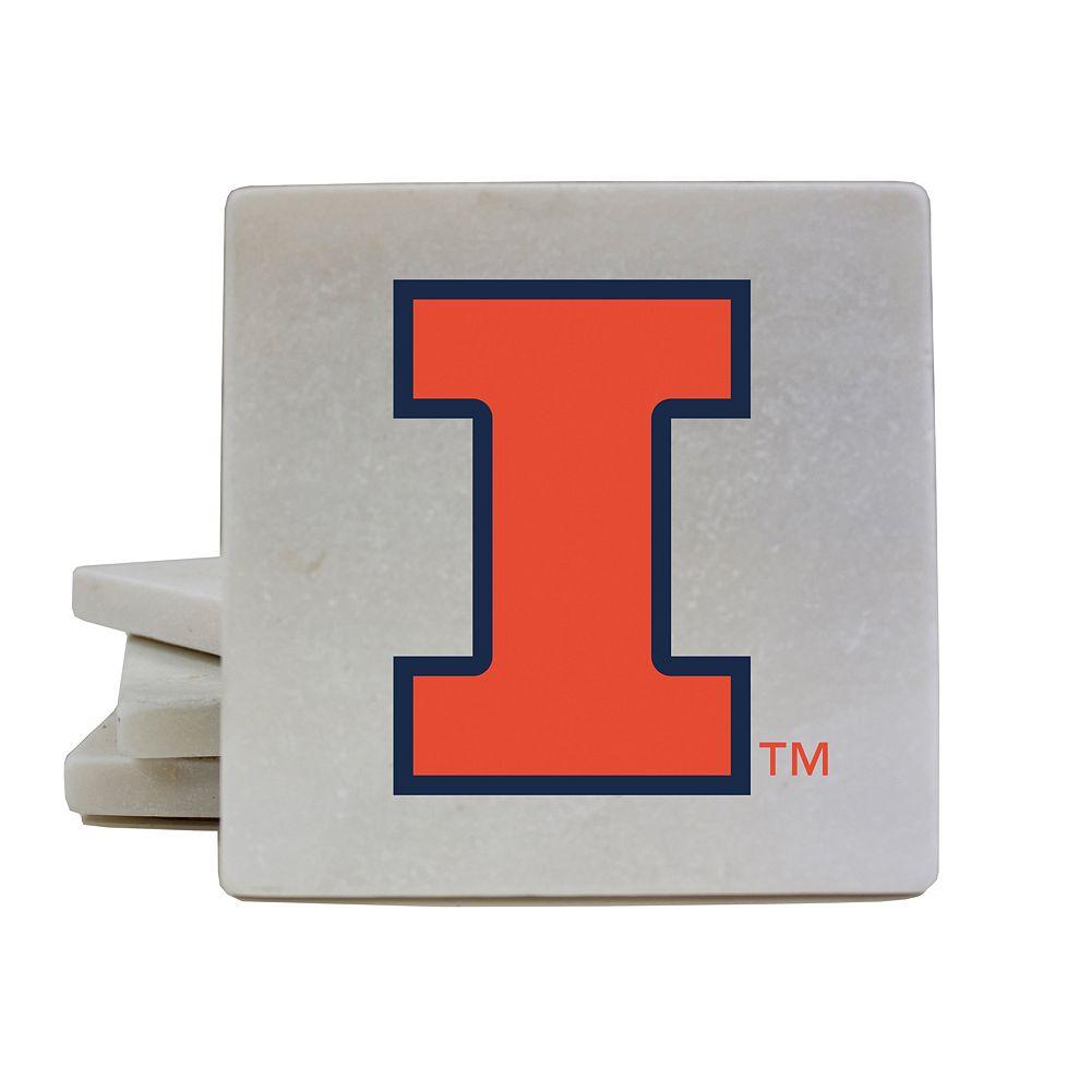 Illinois Fighting Illini 4-Piece Marble Coaster Set