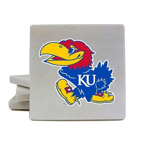 Kansas Jayhawks 4-Piece Marble Coaster Set