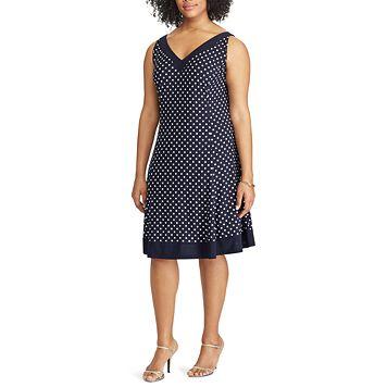 Plus Size Chaps Polka-Dot Fit & Flare Dress