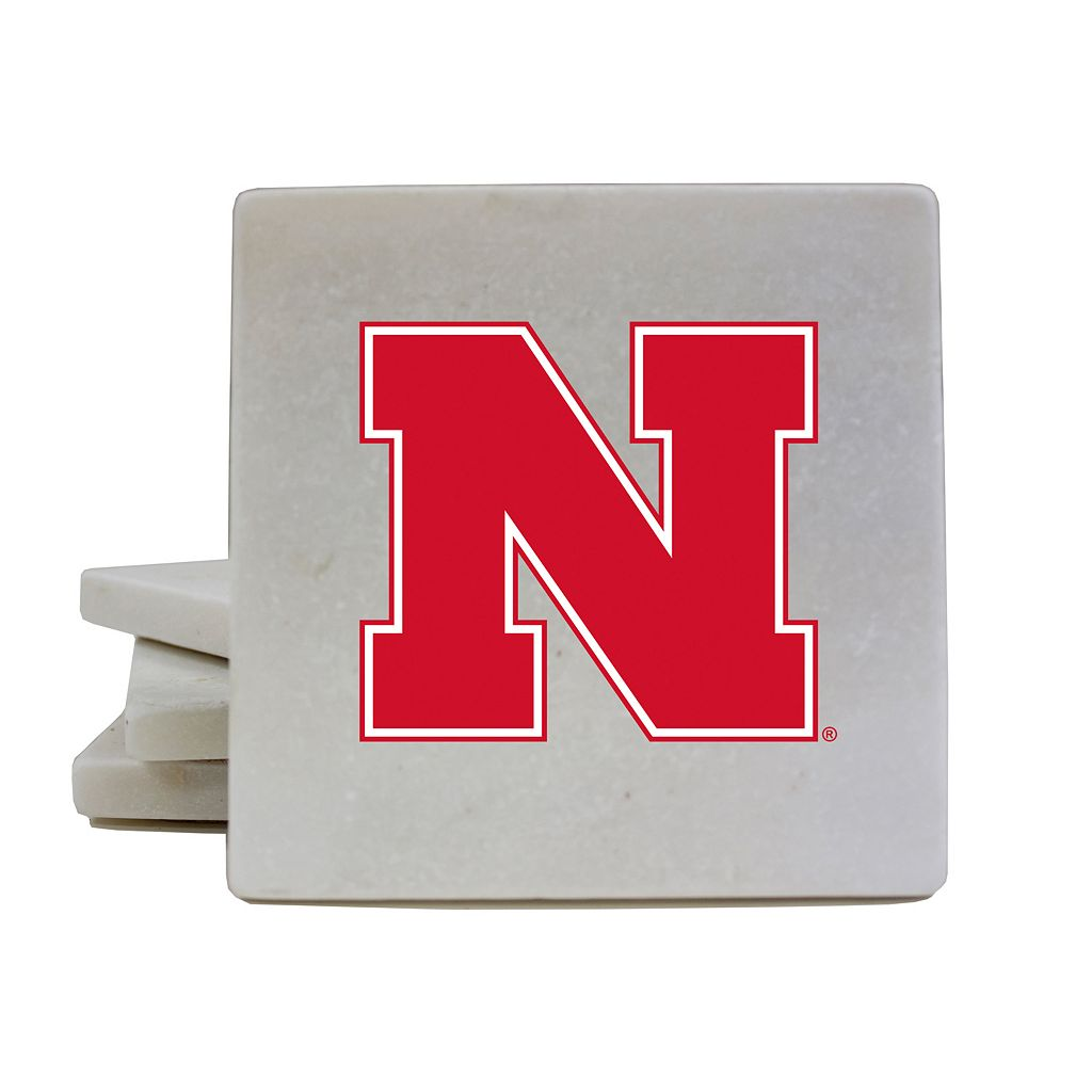 Nebraska Cornhuskers 4-Piece Marble Coaster Set