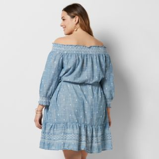 Plus Size SONOMA Goods for Life™ Off-the-Shoulder Chambray Shift Dress