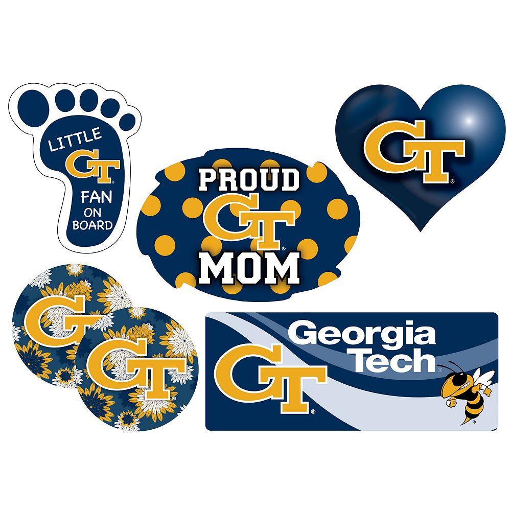 Georgia Tech Yellow Jackets Proud Mom 6-Piece Decal Set