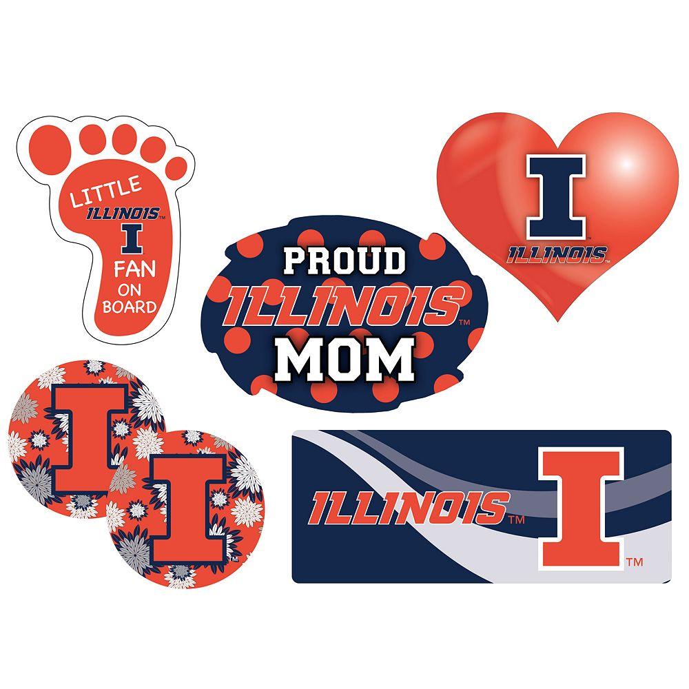 Illinois Fighting Illini Proud Mom 6-Piece Decal Set