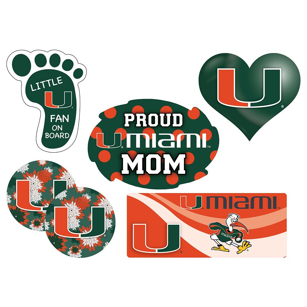 Miami Hurricanes Proud Mom 6-Piece Decal Set