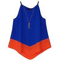 Girls 7-16 IZ Amy Byer Colorblock V-Front Tank Top with Necklace