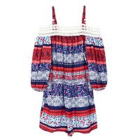 Girls 7-16 IZ Amy Byer Off The Shoulder Lace Geometric Romper