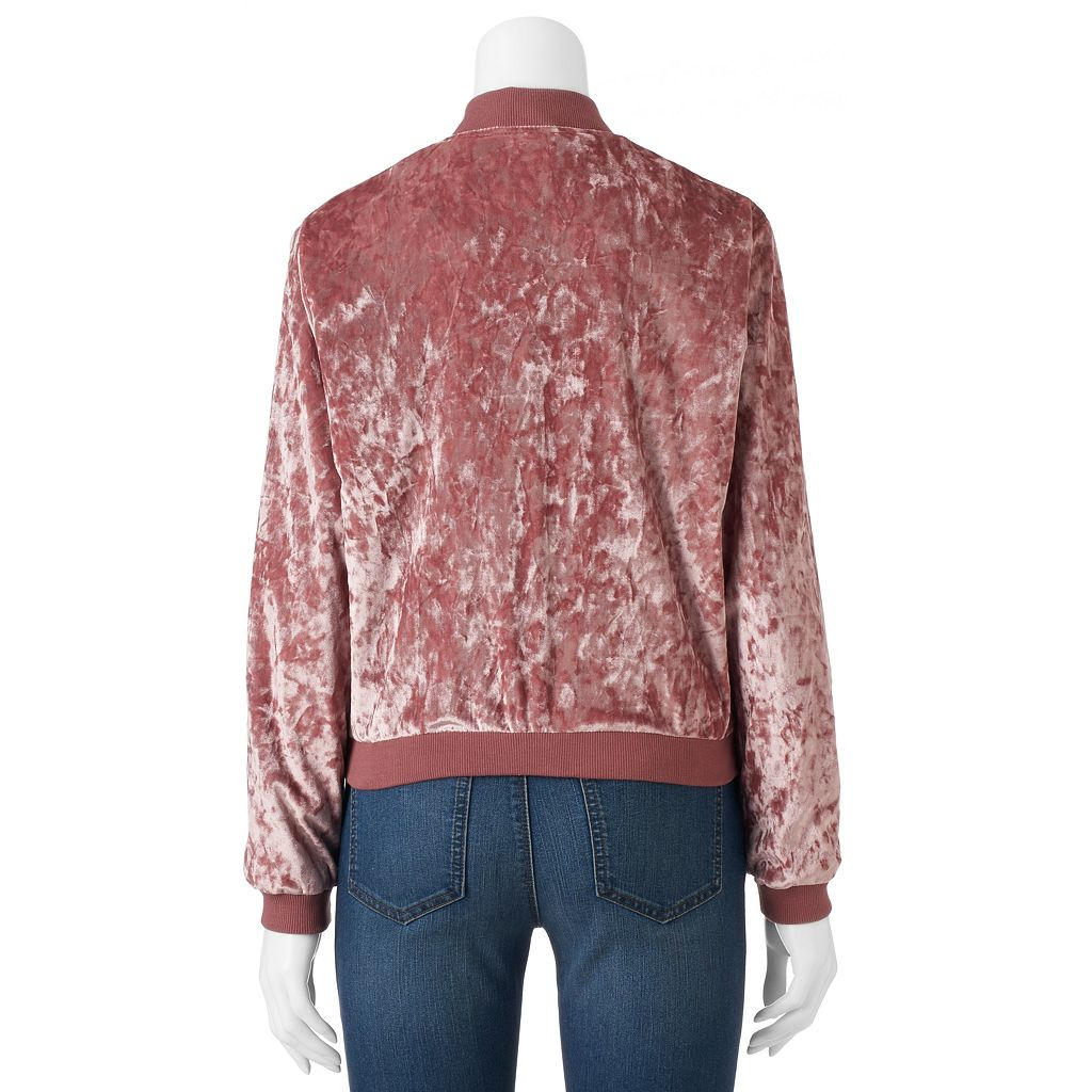 Juniors' Cloud Chaser Velvet Bomber Jacket