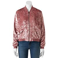 Juniors' Cloudchaser Velvet Bomber Jacket