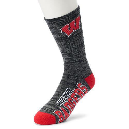 Men's For Bare Feet Wisconsin Badgers Deuce Striped Crew Socks