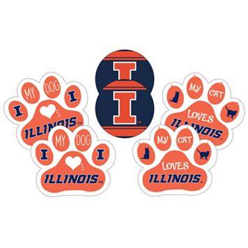Illinois Fighting Illini Pet 6-Piece Magnet Set