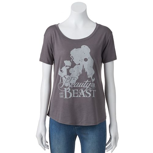 Disney's Juniors' Beauty And The Beast Silhouette Graphic Tee