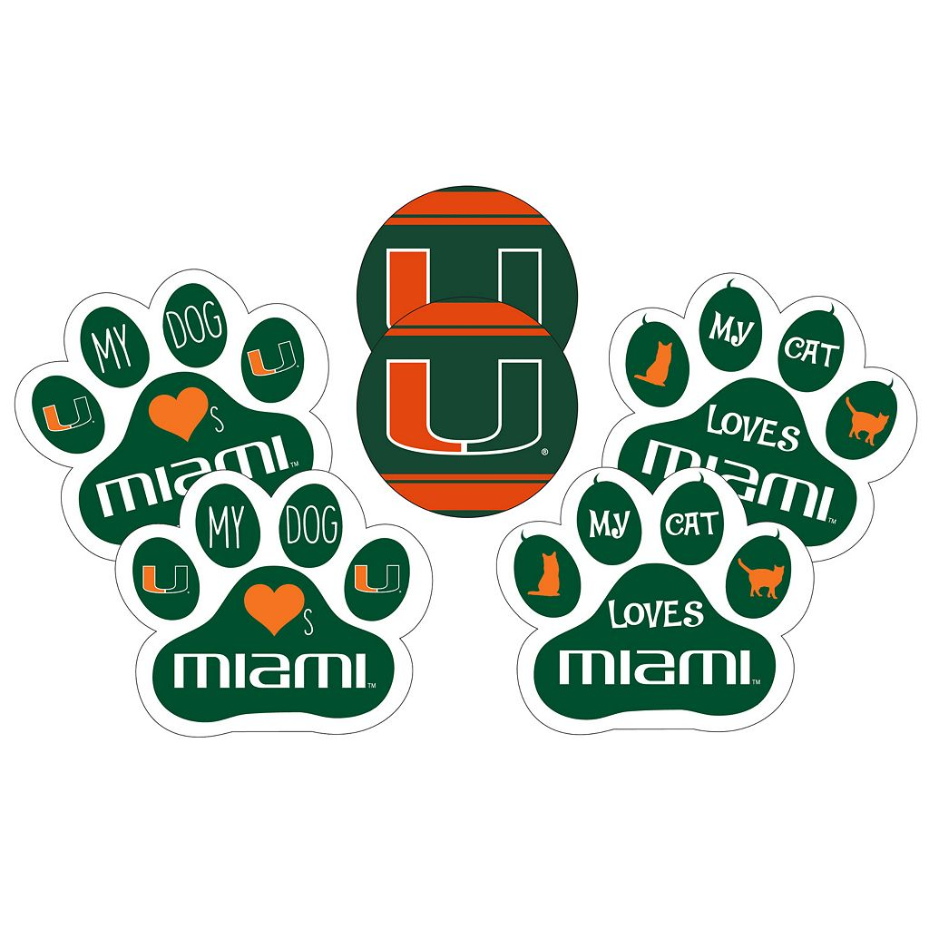 Miami Hurricanes Pet 6-Piece Magnet Set