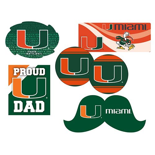 Miami Hurricanes Proud Dad 6-Piece Decal Set