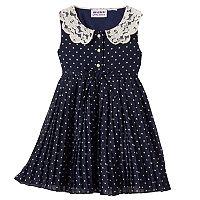 Baby Girl Blueberi Boulevard Polka-Dot Pleated Chiffon Dress