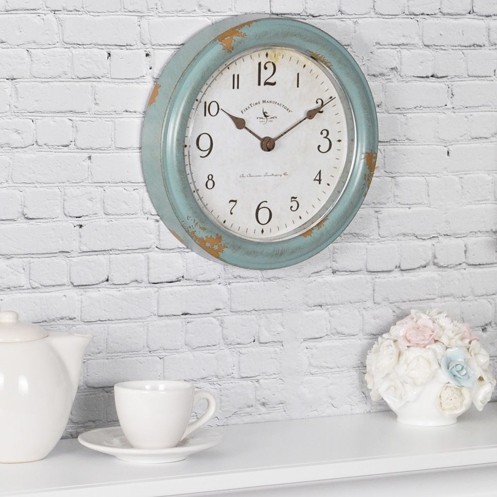 FirsTime Teal Faux Patina Wall Clock