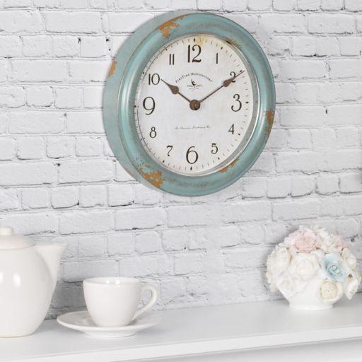 FirsTime Teal Faux Patina Wall Clock