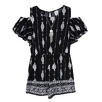 Girls 7-16 IZ Amy Byer Cold Shoulder Printed Border Romper with Necklace