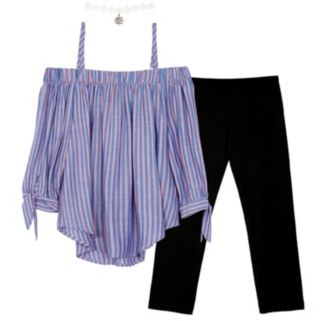Girls 7-16 IZ Amy Byer Top with Necklace & Pants Set