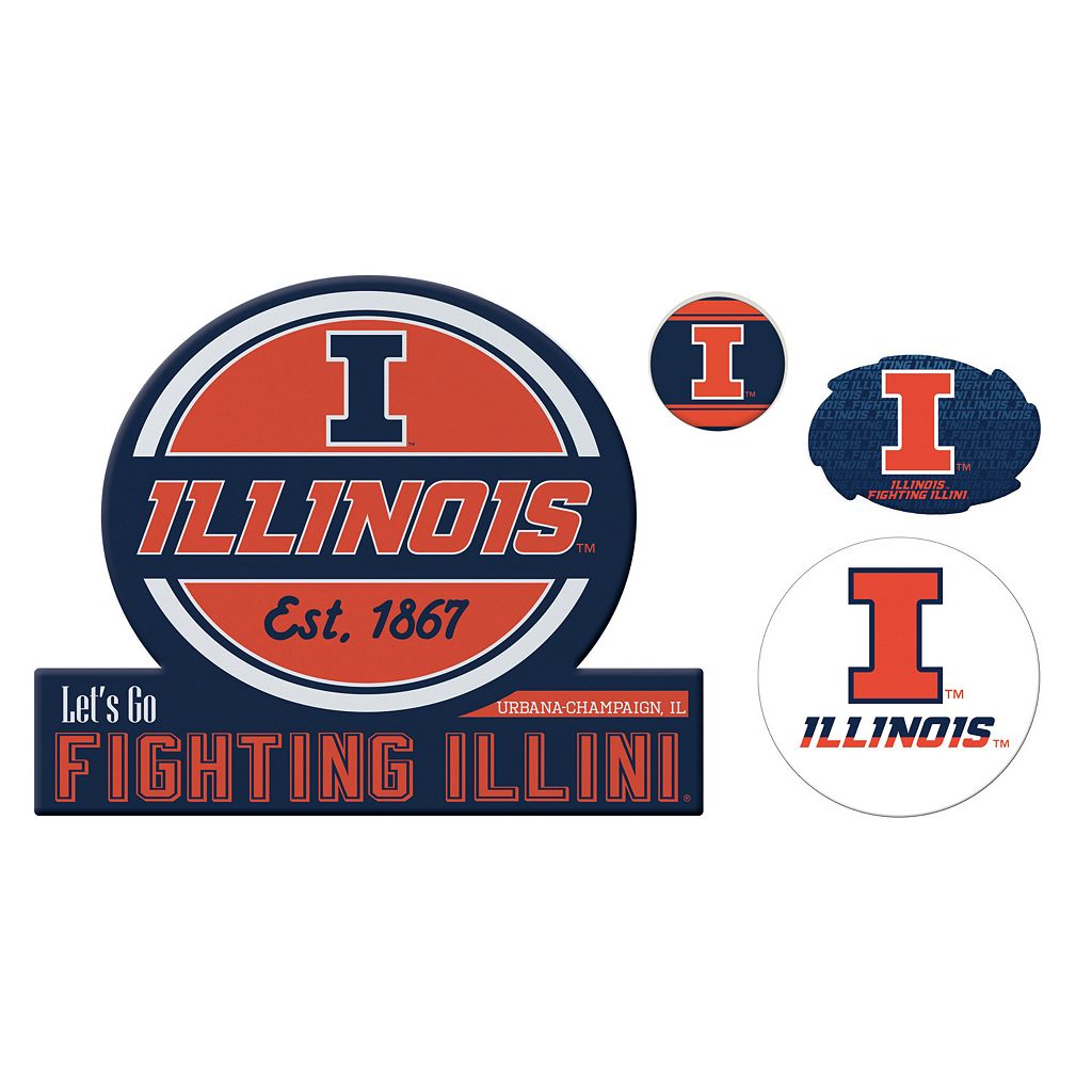 Illinois Fighting Illini Game Day 4-Piece Magnet Set