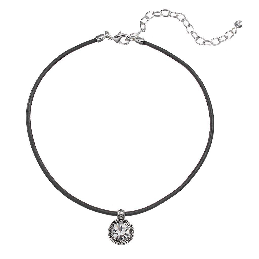 Napier Round Pendant Cord Choker Necklace