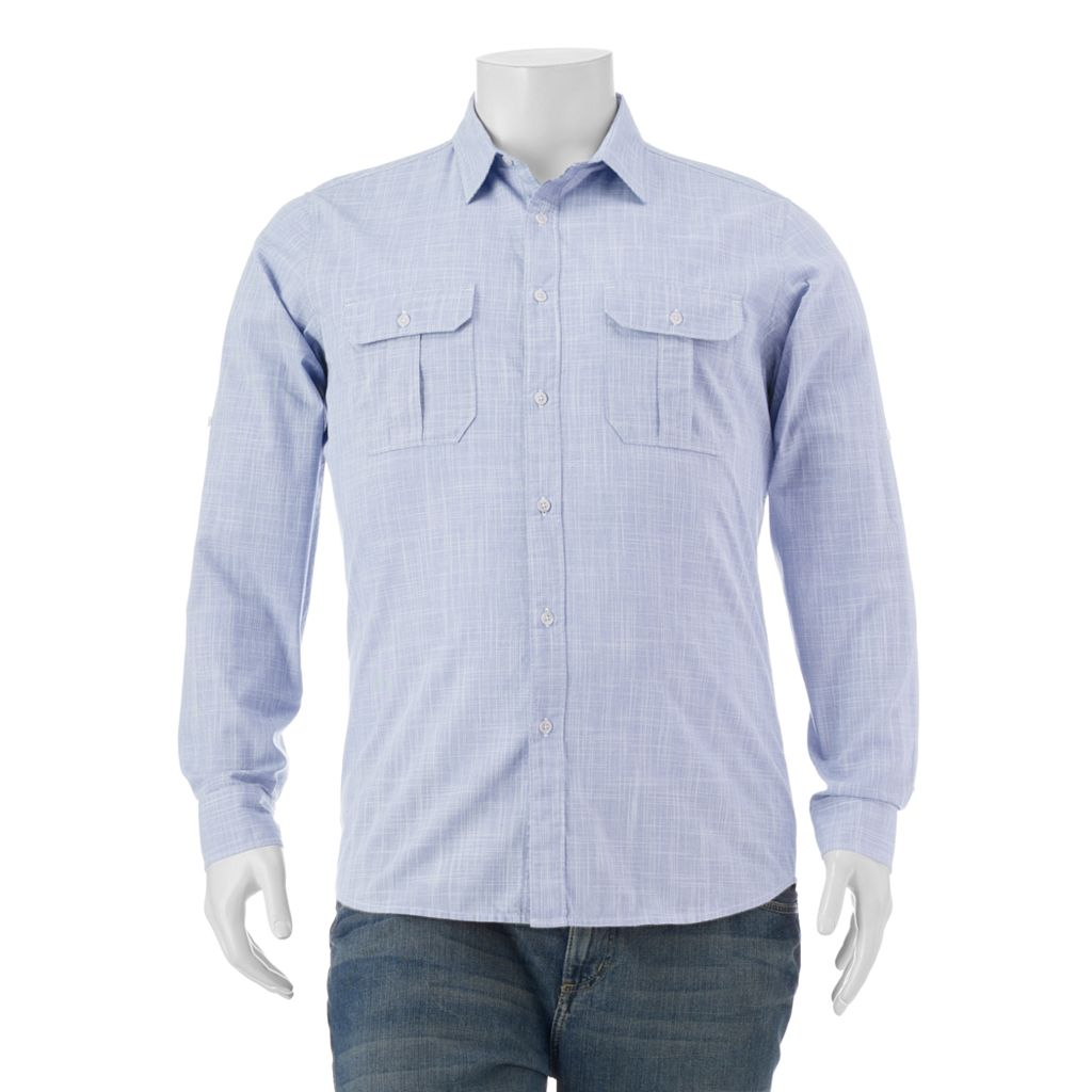 Big & Tall Apt. 9® Classic-Fit Crosshatch Roll-Tab Button-Down Shirt