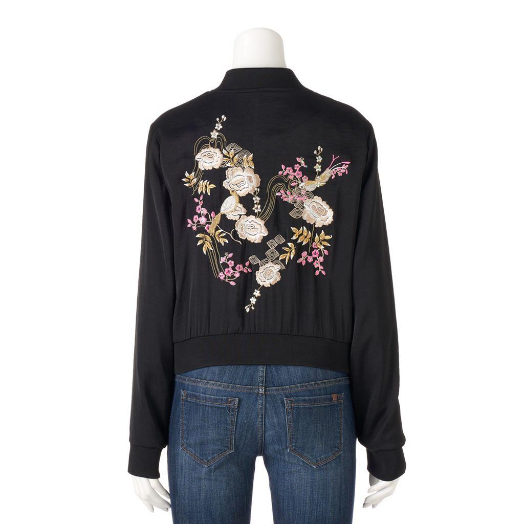 Plus Size Jennifer Lopez Embroidered Bomber Jacket