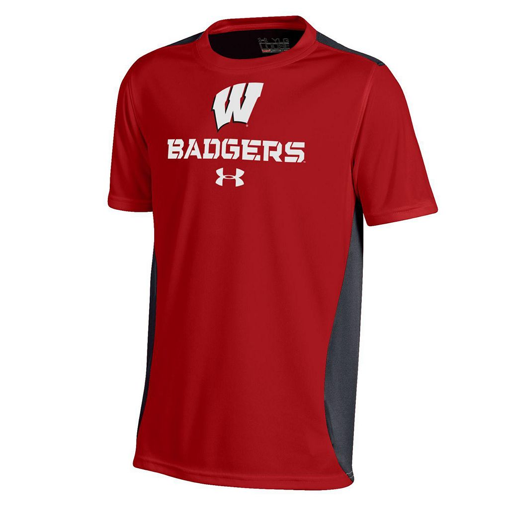 Boys 8-20 Under Armour Wisconsin Badgers Colorblock Tech Tee