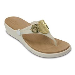 Crocs Sanrah Hammered-Circles Women's Wedge Sandals