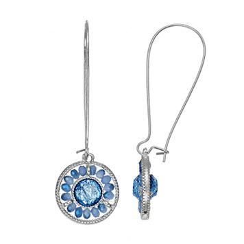 Blue Bead Foil Stone Nickel Free Circle Drop Earrings