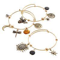 Sun, Star, Bee, Dragonfly & Tree Charm Bangle Bracelet Set