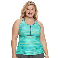 Plus Size Free Country Printed Quarter-Zip Tankini Top