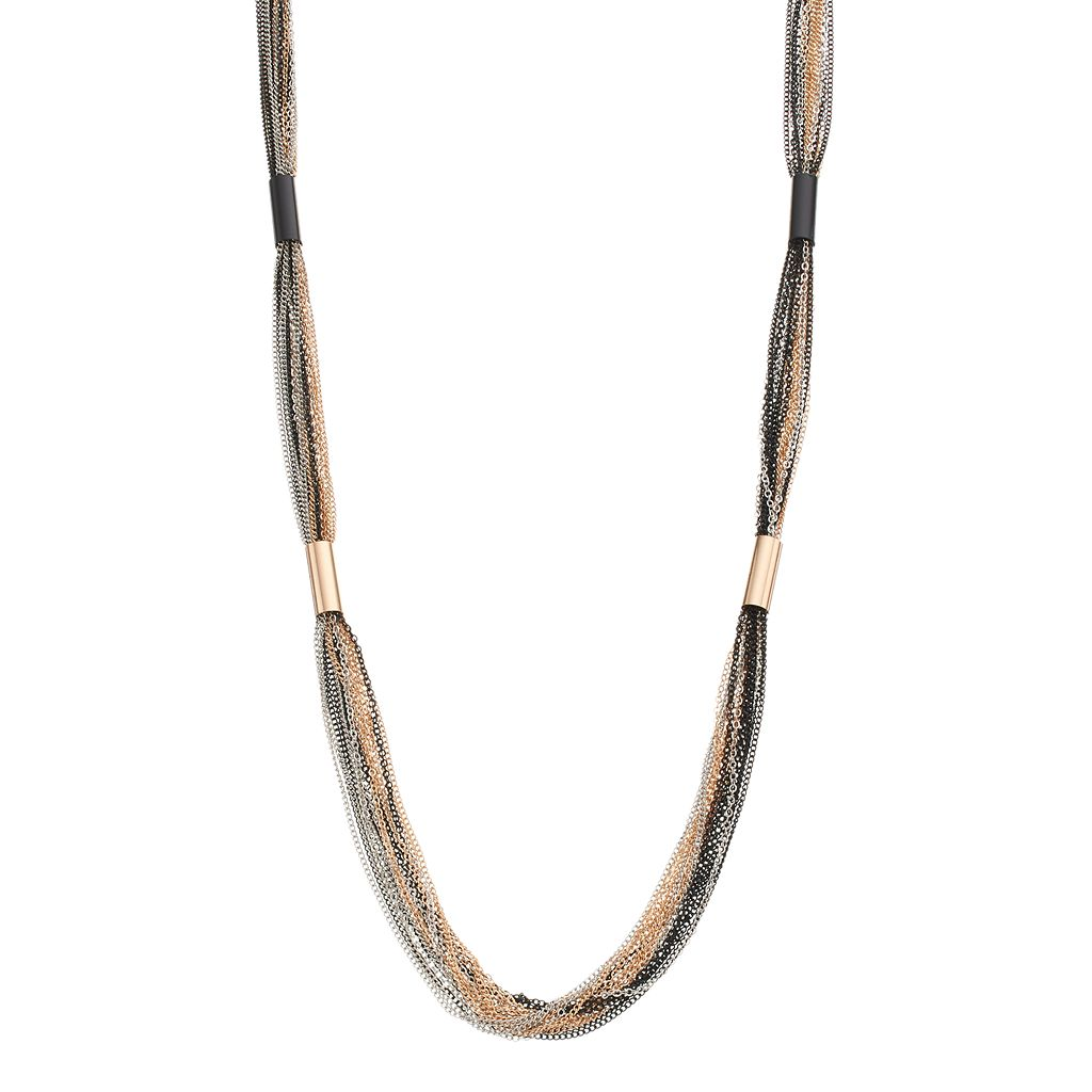 Long Tri Tone Multi Strand Necklace
