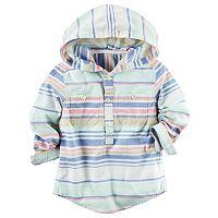 Toddler Boy Carter's Hooded Half-Button Striped Shirt