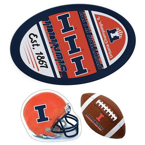 Illinois Fighting Illini Helmet 3-Piece Magnet Set