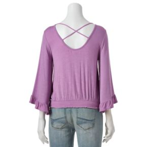Juniors' About A Girl Smocked Bell Sleeve Top