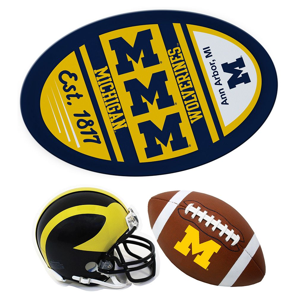 Michigan Wolverines Helmet 3-Piece Magnet Set