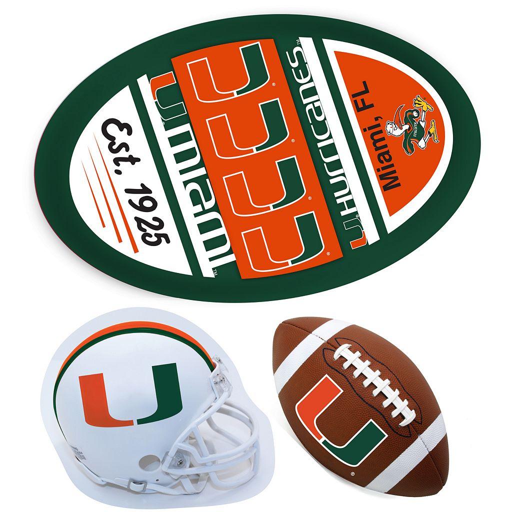 Miami Hurricanes Helmet 3-Piece Magnet Set