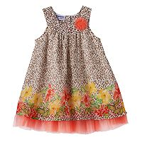 Baby Girl Blueberi Boulevard Cheetah Floral Swing Dress
