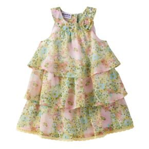 Baby Girl Blueberi Boulevard Floral Tiered Chiffon Dress