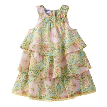 Baby Girl Blueberi Boulevard Floral Tiered Chiffon Dress