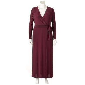 Plus Size Jennifer Lopez Faux-Wrap Maxi Dress