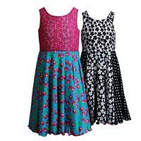 Girls 7-16 Emily West Reversible Cherries & Flowers Skater Dress