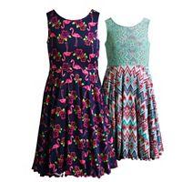 Girls 7-16 Emily West Reversible Flamingos & Chevron Hearts Skater Dress