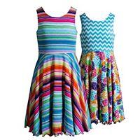 Girls 7-16 Emily West Reversible Pineapples & Stripes Skater Dress